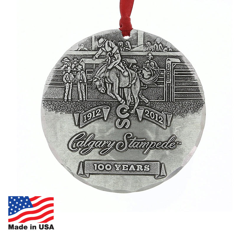 USA Promotional 3-inch Metal Round Ornaments