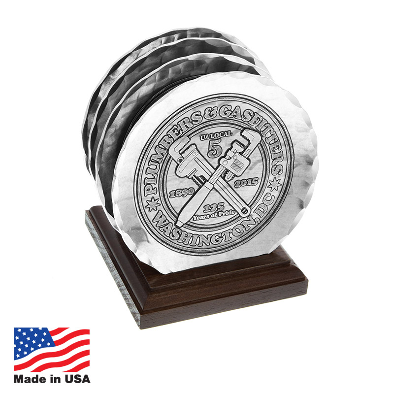 USA Promotional 4-pc Aluminum Coaster Sets with Caddy