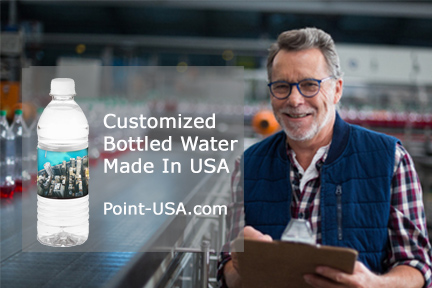 employee makes custom labeled bottled water